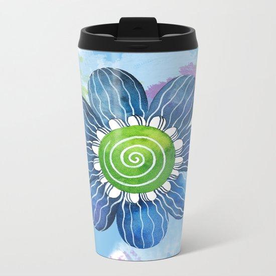 Blue Whimsy Metal Travel Mug