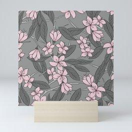 Sakura Branch Pattern - Ballet Slipper + Neutral Grey Mini Art Print