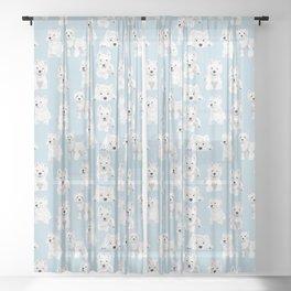 Westies on Light Blue Sheer Curtain
