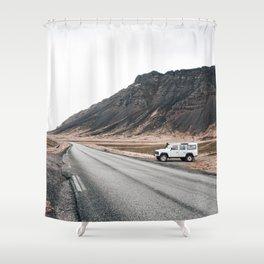 Hitting an icelandic Road Shower Curtain