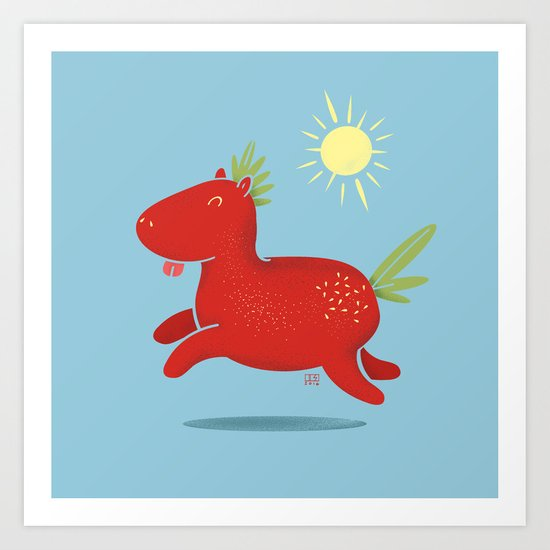 Strawberry Horse Art Print
