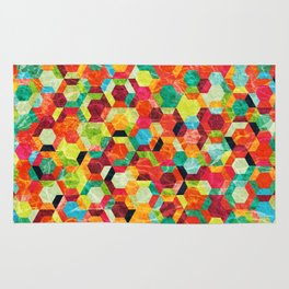 Colorful Half Hexagons Pattern #04 Rug