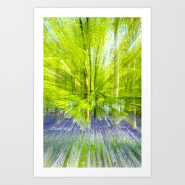 Rushing through thebluebells Art Print