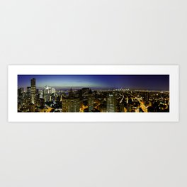 Downtown Manhattan at Night Art Print