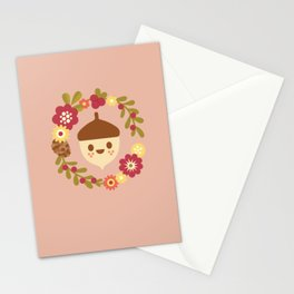 Acorn and Flowers / Blush Pink Stationery Cards