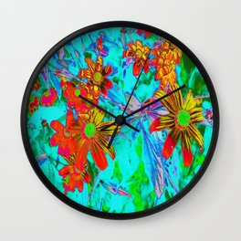Aqua Tropical with Yellow and Orange Flowers Wall Clock
