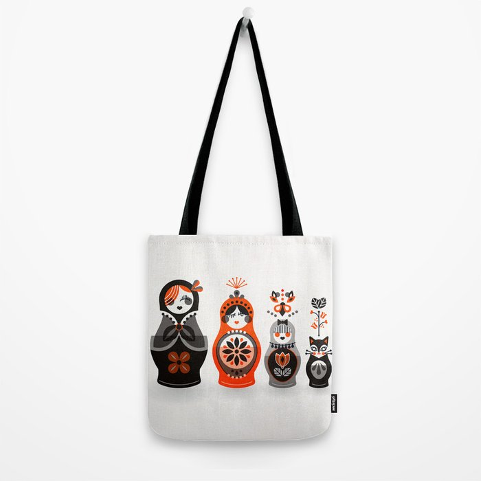 Russian Nesting Dolls – Red & Black Tote Bag