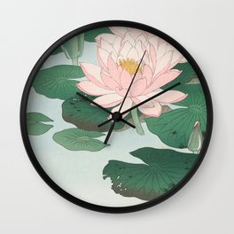 Water Lilies - Japanese vintage woodblock print Wall Clock