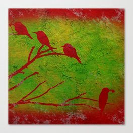 Sparrows' Family Canvas Print