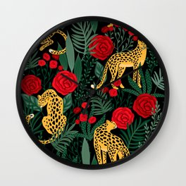 Brown Leopards Jungle leaves and red roses pattern Wall Clock
