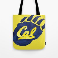 aaliyah Tote Bags featuring Cal bear by Liana
