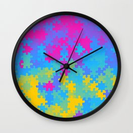 Pansexual Pride Puzzle Pieces Pattern Wall Clock