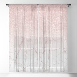 Rose Glitter Pink Marble Sheer Curtain
