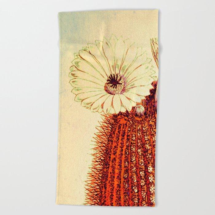 cactus with light Beach Towel