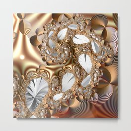 Silver leaves on golden glow -- A fractal landscape Metal Print