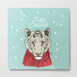 Merry Christmas New Year's card design Tiger head in a red knitted sweater and a scarf. Sketch Metal Print