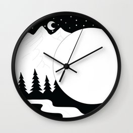 Snowy Crescent Wall Clock