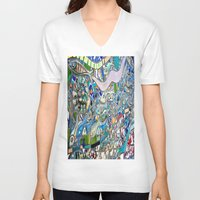 bathroom V-neck T-shirts featuring Venice Beach Bathroom Art by Kim Ramage