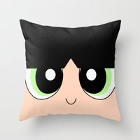 powerpuff girls Throw Pillows featuring Buttercup -The Powerpuff Girls- by CartoonMeeting