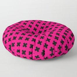 Black Crosses on Hot Neon Pink Floor Pillow