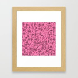 Pink Halloween Pattern Framed Art Print