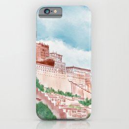 Watercolor Illustration of majestic Potala Palace located in Lhasa, Tibet, China iPhone Case