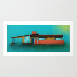 Mid Century House Cold Art Print
