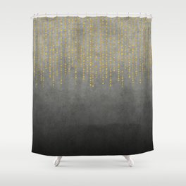 Dark Glamour golden faux glitter Shower Curtain