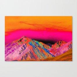 California's Sierra Mts-Digital Art, Pink & Orange Canvas Print