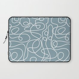 Doodle Line Art | White Lines on Dusty Blue Laptop Sleeve