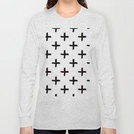 Swiss Cross in Black + White Long Sleeve T-shirt