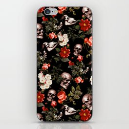 Floral and Skull Dark Pattern iPhone Skin