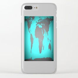 World MAp Turquoise Aqua & Gray Clear iPhone Case
