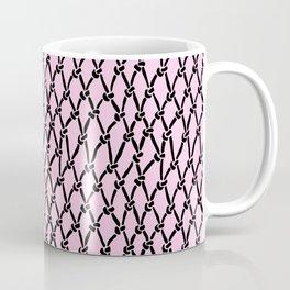 Fishing Net Black on Blush Coffee Mug