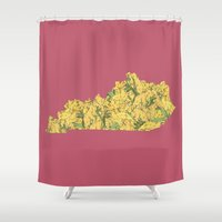 kentucky Shower Curtains featuring Kentucky in Flowers by Ursula Rodgers