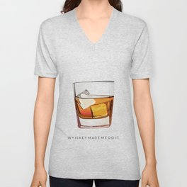 Alcohol Poster,Funny Poster Whiskey Art,Make Mine a Double,Alcohol Gift,Whiskey Cocktail,Inspiring Unisex V-Neck