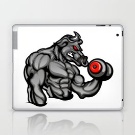a strong angry bull with a barbell Laptop & iPad Skin