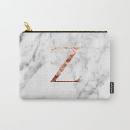 Monogram rose gold marble Z Carry-All Pouch
