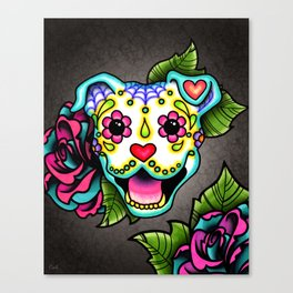 Smiling Pit Bull in White - Day of the Dead Pitbull Sugar Skull Canvas Print
