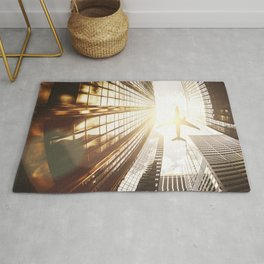 airplane in new york Rug