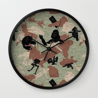 camo Wall Clocks featuring Endor Battle Camo by Josh Ln