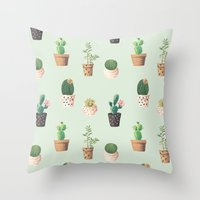 succulents Throw Pillows featuring Succulents  by Tasteful Tatters
