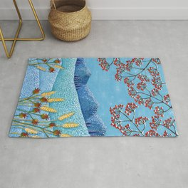 Winter Mountain Colorful Fields Rug