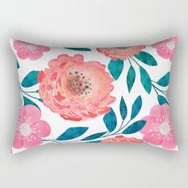 Pink, orange flowers. Rectangular Pillow
