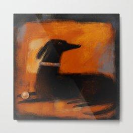 BLACK DOG ON ORANGE Metal Print