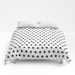 Black stars on white pattern Comforters