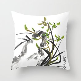 Green Orchid One Throw Pillow