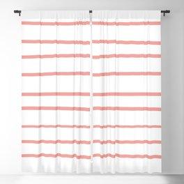 Pantone Candlelight Peach 15-1621 Hand Drawn Horizontal Lines on White Blackout Curtain