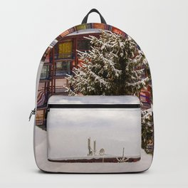 Mountain architecture colorful Backpack