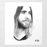 jared leto Art Prints featuring Jared Leto by Art by Cathrine Gressum